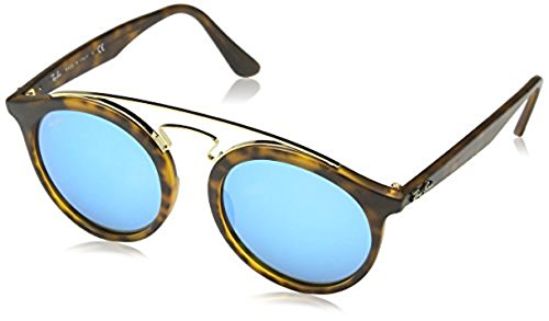 Ray-Ban RB4256 Sunglasses Matte Havana / Light Green Mirror Blue 49mm & Cleaning Kit - Ray Ban Rb4256