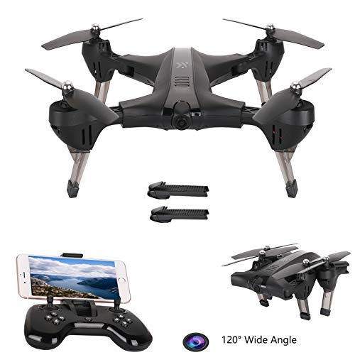 WiFi APP Control Drones with HD Camera 720P 120° Angle Foldable FPV Drone Altitude Hold Auto Hover, Gravity Sensor Compatible with VR Headset