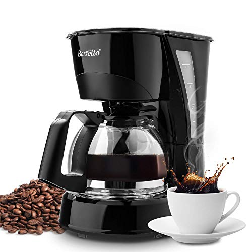Barsetto Simple 4 Cup Coffee Machine Plastic Silent Operation Drip Coffeemaker with Coffee Pot and Filter,Black