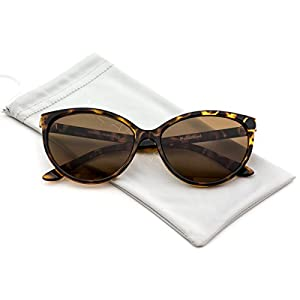 WearMe Pro - Cat Eye Polarized Fashion Tip Pointed Sunglasses (Tortoise Frame/ Brown Lens, 56)