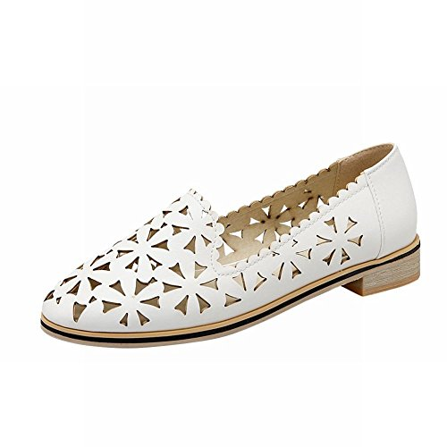 Mostrar Zapatos Shine Mujeres Fashion Hollow Loafer Flats Blanco