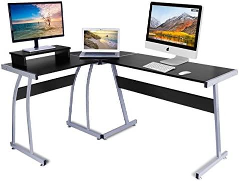 Escritorio de la computadora, DOSLEEPS L-Shaped Large Corner PC Mesa de estudio portátil Estación de trabajo Gaming Desk para el hogar y la oficina - ...
