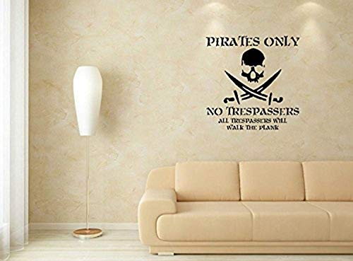 Trespassing Wall - Art Quote Saying Home Pirates Only - No Trespassing Wall Decals Mural Decor Vinyl Sticker SK7584
