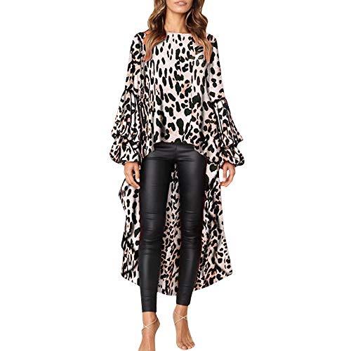 XOWRTE Women's Leopard Ruffles Sweatshirt Long Sleeve Tunic Blouse T-Shirt Pullovers Tops]()
