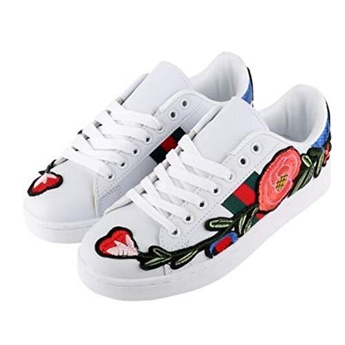 ZHZNVX Zapatos de Mujer de Microfibra de Primavera/Verano Comfort Sneakers Flat Heel Cerrado de Oro/Blanco / Negro White