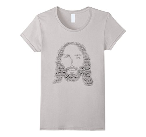 Womens Nice Jesus Font Design T-Shirt XL Silver (Silver Nice Design)