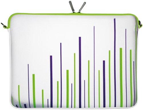 "DIGITTRADE LS130-15 White Stripes Designer Notebook Sleeve 15.4"" (39.6 cm) Laptop Bag ""Made in Germany"" Neoprene Soft Carry Case up to 15.6 inch"