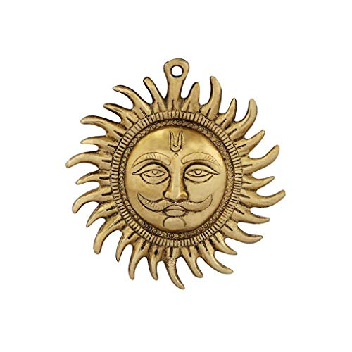 HANDICRAFTS PARADISE Wall Hanging Sun Shaped in Metal Gold Plated