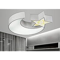 LYXG Lampada da soffitto Led luci ragazzi e ragazze Luna stelle creative camera da letto studio luce bambini arte luce di lampade in ferro (550mm*70mm), scatola bianca non oscuramento di polarità