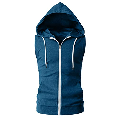 Funnygals Vest Hoodie for Men with Sleeveless Zip Up Hoodie Casual Hoody Tops Pullover Tank Tops with Pockets for Man Dark Blue