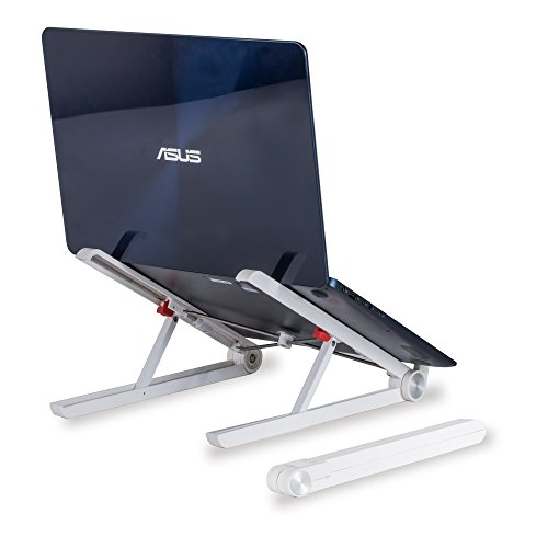Compact Notebook (Foldable Laptop Stand, Adjustable Height, Monitor Riser, Compact & Portable Holder for Mac Books, Standing Desks, Home & Work, Improve Posture, Eliminate Aches & Enhance View By Bestrix)