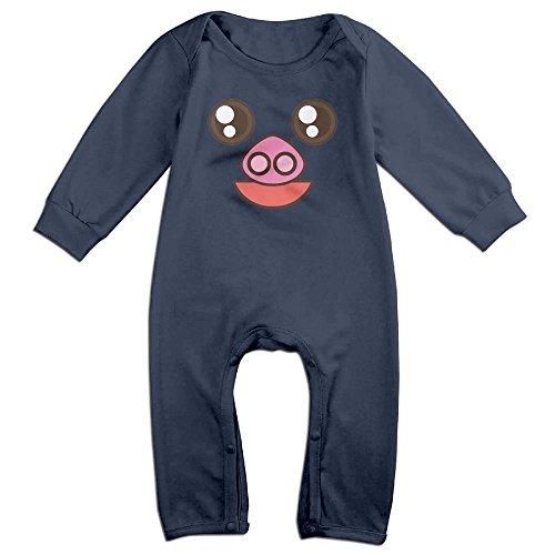 Tongbu Pig Cartoon Face Baby's Bodysuit Climb Clothes Boy & Girl Soft Cotton Long Sleeve Romper Jumpsuit 12 MonthsNavy
