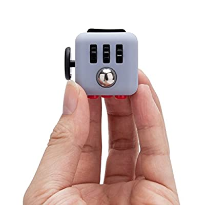 Omaky Fidget Cube Relieves Stress and Anxiety for Children and Adults Attention Toy, Gray Red by Omaky
