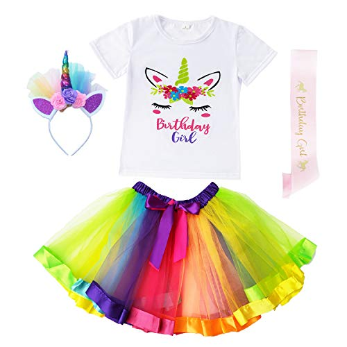 (Danballto Unicorn Outfits for Big Girls Dress Up Birthday Party Costume Rainbow Tutu Set (Rainbow,)