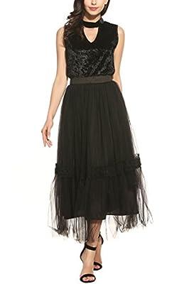 Zeagoo Women's Classic Tutu Tulle High Waisted Multi Layer Lace Long Maxi Skirt(Black,White)
