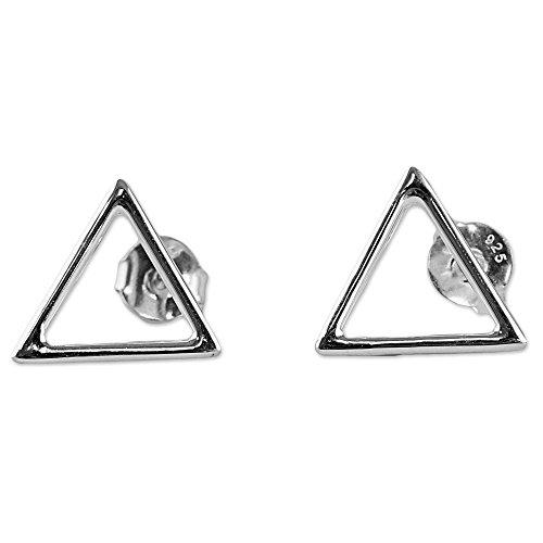 NOVICA .925 Sterling Silver Button Earrings 'Minimalist Triangle'