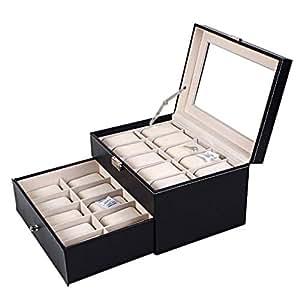 2 Niveles Caja de Reloj Grande - 20 Ranura Premium Luxury Casos de exhibición con Tapa de Vidrio Robusta Cerradura Seguro para Hombres y Mujeres Porta Joyas ...