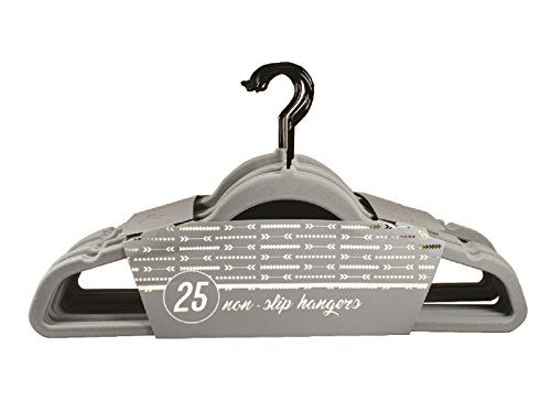 Signature Home Velvet Hangers with Black Hooks Non Slip-Ultra Thin-Space Saver, Gray with Black Hooks, 25 Piece Signature Hooks Hook