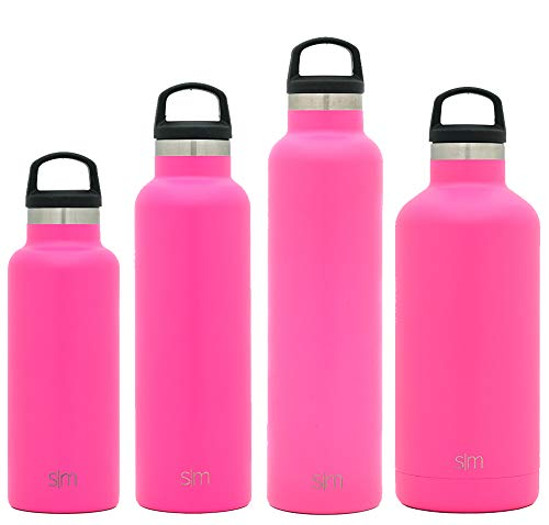 Simple Modern 32oz Ascent Water Bottle - Stainless Steel Hydro Swell Flask w/Handle Lid - Metal Double Wall Vacuum Insulated Pink Reusable Tumbler Aluminum 1 Liter Cold Leak Proof - Malibu -  ASC-32-MBU
