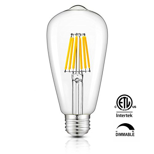 Antique Bronzed Pendant Base (CRLight 6W Dimmable Edison Style Vintage LED Filament Light Bulb, 3000K Soft White 60W Incandescent Replacement, E26 Medium Base Lamp ST64 Antique Shape, Clear Glass Cover)