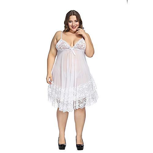 (Sexy Lingerie for Women Plus Size Exotic Sleepwear Robe Sets Flower Lace Babydoll V Neck Bowknot Chemise White XXXL )