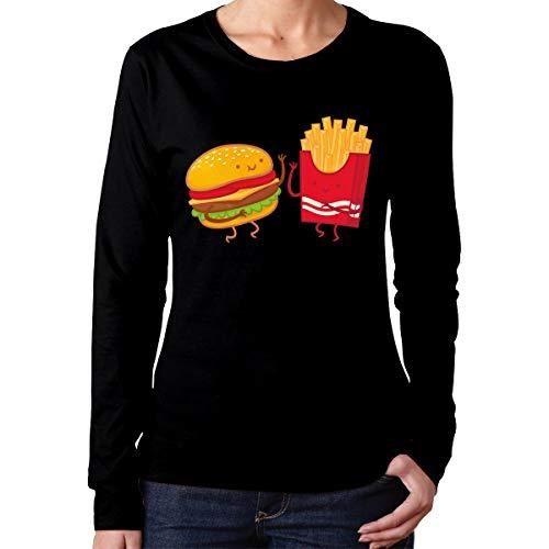 Shanala Women's Hamburger French Fries Long Sleeve Tee Black M