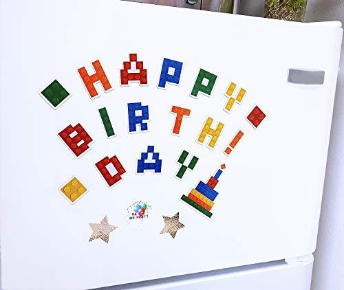 Birthday Locker Decorations (Happy birthday Magnets Set, Happy birthday decorations, birthday party favors for kids, birthday building blocks magnet)