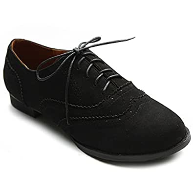 Ollio Women's Shoe Ballet Flat Faux Suede Wingtip Lace Up Oxford ZM2908(5.5 B(M) US, Black)