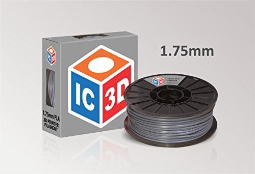 IC3D Grey 1.75mm PLA 3D Printer Filament - 2lb Spo...
