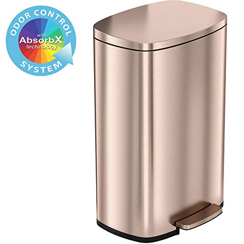 iTouchless SoftStep 13.2 Gallon Stainless Steel Step Trash Can with Odor Control System, 50 Liter Pedal Garbage Bin for Kitchen, Office, Home - Silent and Gentle Open and Close, Rose - Roses Kitchen