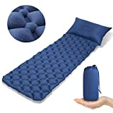 Ultralight Sleeping Pad Inflatable Pad Camping Mat Inflating Sleeping Mattress Hiking Sleep Air Pad with Built-in Pillow Air-Support Cells Design Inflator Sleep Mattress for Backpacking,Camping,Travel
