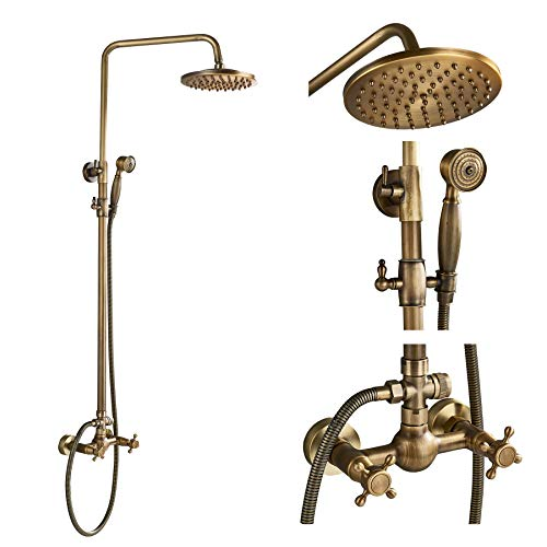Rozin Bathroom 2 Knobs Mixer Rainfall Shower Faucet Units with Hand Spray Antique Brass