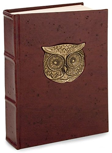 Italian Leather Journal CHOCOLATE LEATHER METAL OWL Lined Journal (Size 6