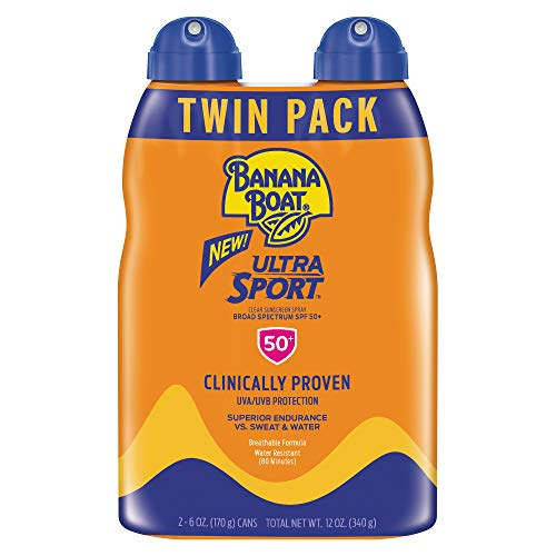 Banana Boat Sunscreen Sport Performance, Broad Spectrum Sunscreen Spray - SPF 50 - 6 Ounce Twin Pack (Sunscreen Spray 80)