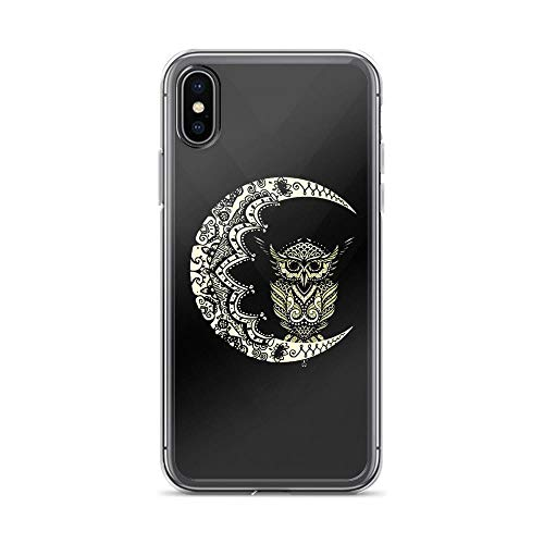 (iPhone X/XS Pure Clear Case Cases Cover Monochrome Mandala Owl)