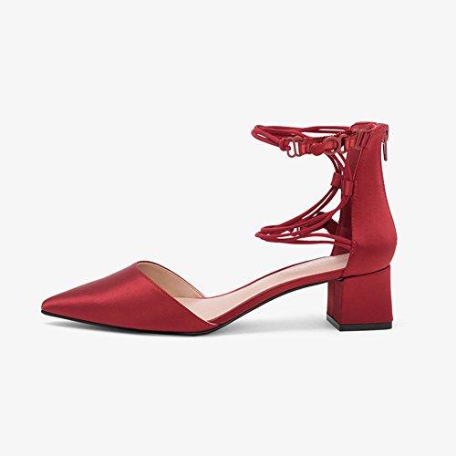 Sandalias Altos Zapatos De Bloque Vendajes Casuales Planos Playa Puro Talón Tamaño Tacones Temporada UK4 De Zapatos EU36 Mujer Apuntado WYYY Bajo Zapatos Verano Color Fiesta De qpa11Z