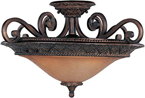 Maxim 11241SAOI Symphony 3-Light Semi-Flush Mount, Oil Rubbed Bronze Finish, Screen Amber Glass, MB Incandescent Incandescent Bulb , 25W Max., Dry Safety Rating, 2900K Color Temp, Standard Dimmable, Glass Rod Shade Material, 4800 Rated Lumens
