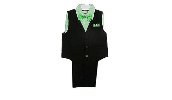 Rafael Baby Boys Black Green Stripe Shirt Vest Pants Bowtie 4 Pcs Suit 3-24M