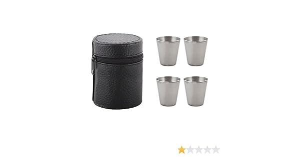 BESTONZON Vasos de chupito de acero inoxidable para viajes de 4 piezas con estuche de cuero