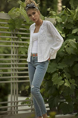 Eyelet White Spring Summer Jacket, Lightweight Hippie Cover Up, Vacation Casual White Women's Shrug Top, Bridal Cardigan
