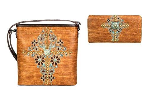 - Montana West Patina Daisy Flower Concho Cross Messenger Bag Purse Wallet Set (Brown)