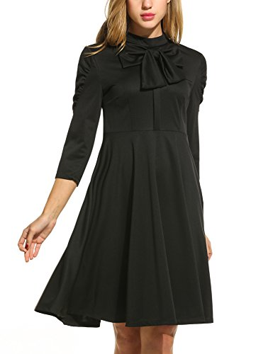 ACEVOG-Womens-1950s-Bowknot-Vintage-Stand-Collar-34-Sleeve-Pleated-Casual-Winter-Dress-Warm