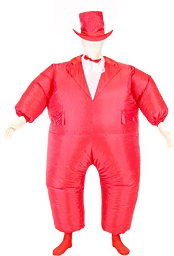 Tuxedo Tux Adult Red Inflatable Chub Suit Costume (Red)
