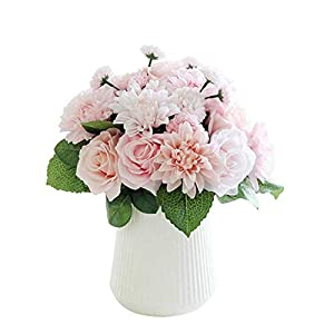 CQURE Artificial Fake Flowers Silk Artificial Roses 9 Heads Bridal Wedding Bouquet for Home Garden Party Wedding Decoration (Pink Champagne) … 4