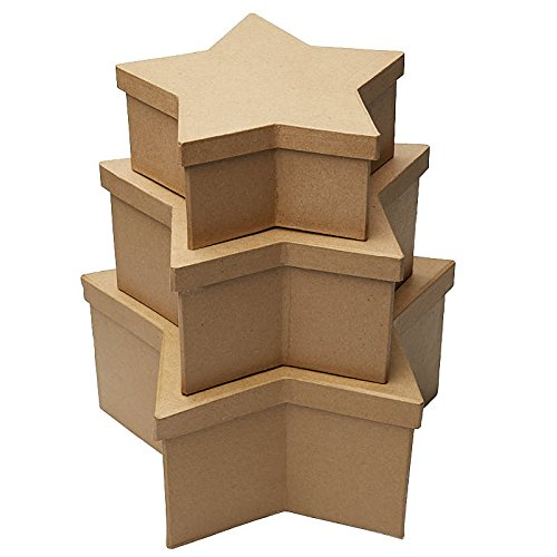 Factory Direct Craft Handcrafted Paper Mache Large Star Boxes - 3 Boxes