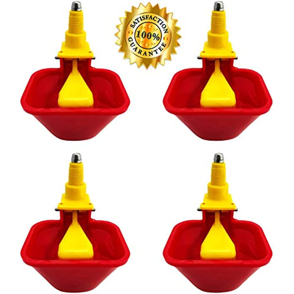 Vertical 4 Poultry Fountains /& Waterers Pack NO PECK Drinking Cup For Chicken