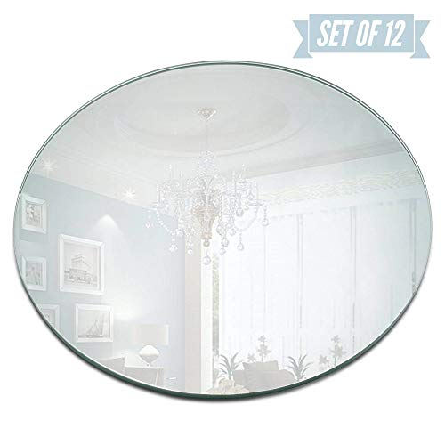 Round Mirror Candle Plate Set - Box of 12 Mirror Trays - -
