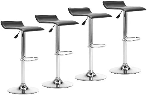PU Leather Upholstered Height Adjustable Swivel Counter Barstools with Polished Chrome Base and Footrest, Black, Set of 4