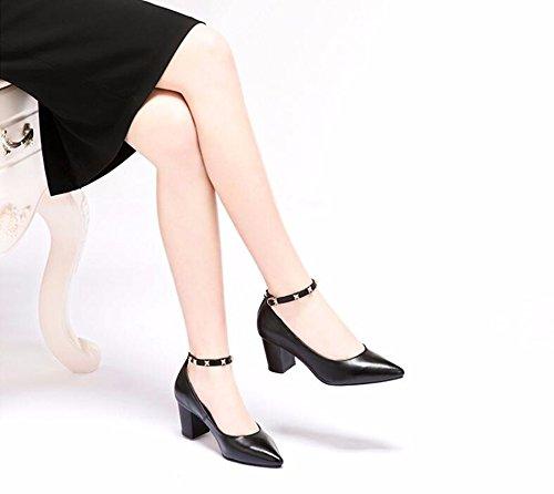 Cabeza Mujer Tacon Alto Tacon Taladro Espesor De black De Zapatos Puntiaguda 6 De Nuevo Cm GTVERNH Estilo Primavera Remachadora Zapatos U6qFw