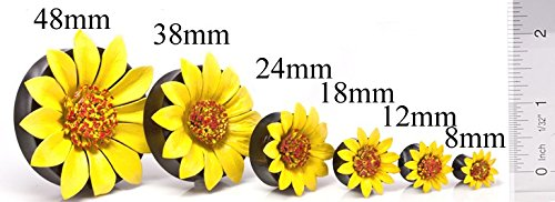 Ear Gauge with Yellow Leather Flower Inlay Elementals Organics Horn Ear Plug
